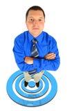 Zakenman in status bij het ontspruiten van teken Stock Foto