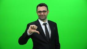 Zakenman Thumbs Down, Mislukking en Niet succesvol Concept stock video