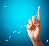 Zakenman Touching een Grafiek Stock Fotografie