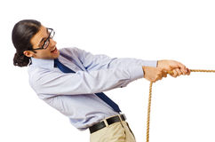 Zakenman - touwtrekwedstrijdconcept Stock Foto's
