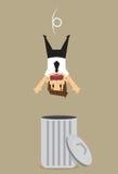 Zakenman in trashcan wordt gelaten vallen die Royalty-vrije Stock Foto