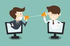 Zakenman twee die met koptelefoon spreken in computer via inter Royalty-vrije Stock Fotografie