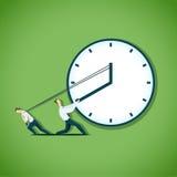 Zakenman twee probeert om de tijd te vertragen vector illustratie