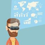 Zakenman in vrhoofdtelefoon die virtuele gegevens analyseren Stock Afbeelding