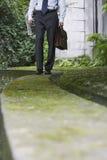 Zakenman Walking On Wall in Park royalty-vrije stock afbeelding