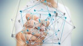 Zakenman wat betreft abstracte verbindingsinterface met een 3D pen Royalty-vrije Stock Afbeelding