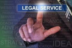 Zakenman wat betreft de juridische dienstknoop op het virtuele scherm Royalty-vrije Stock Afbeelding