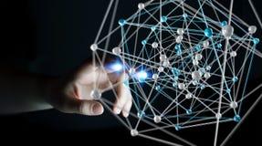 Zakenman wat betreft het abstracte verbindingsinterface 3D teruggeven Stock Afbeelding