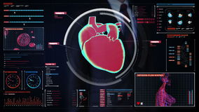 Zakenman wat betreft het digitale scherm, aftastend hart Menselijk Cardiovasculair Systeem Medische technologie stock illustratie