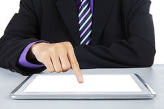 Zakenman wat betreft het digitale tabletscherm 1 royalty-vrije stock foto's