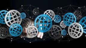 Zakenman wat betreft het digitale Webpictogrammen 3D teruggeven Stock Afbeelding