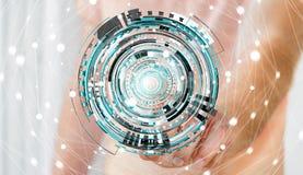 Zakenman wat betreft het drijven 3D teruggevende digitale technologie blauw int. Stock Foto's