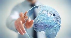 Zakenman wat betreft mondiaal net bij aarde het 3D teruggeven Stock Foto's