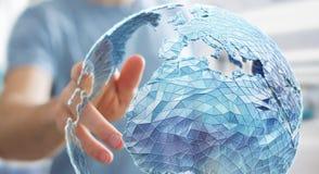 Zakenman wat betreft mondiaal net bij aarde het 3D teruggeven Royalty-vrije Stock Foto