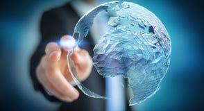 Zakenman wat betreft mondiaal net bij aarde het 3D teruggeven Stock Afbeeldingen