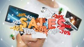 Zakenman wat betreft verkooppictogrammen met pen het 3D teruggeven Stock Foto's