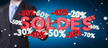 Zakenman wat betreft verkooppictogrammen met pen het 3D teruggeven Royalty-vrije Stock Afbeelding