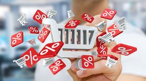 Zakenman wat betreft verkooppictogrammen met pen het 3D teruggeven Stock Afbeelding