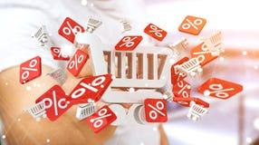 Zakenman wat betreft verkooppictogrammen met pen het 3D teruggeven Stock Afbeeldingen