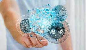 Zakenman wat betreft vliegend abstract gebied met glanzende kubus 3D r Royalty-vrije Stock Fotografie