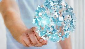 Zakenman wat betreft vliegend abstract gebied met glanzende kubus 3D r Stock Foto