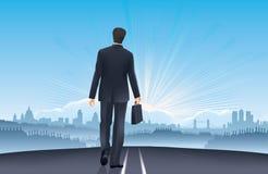 Zakenman-weg aan succes-Londen baankans stock illustratie