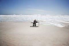 Zakenman Working On Beach Royalty-vrije Stock Foto's