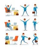 Zakenman Working in Bureau, ceo met Aktentas stock illustratie