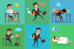 Zakenman Working Day Set royalty-vrije illustratie