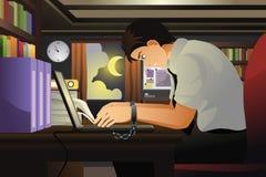 Zakenman Working met Zijn die Handen aan Laptop worden gebonden Royalty-vrije Stock Foto