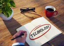 Zakenman Writing de Word Technologie stock fotografie