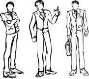 Zakenman zwart-wit 3 varianten Stock Afbeeldingen