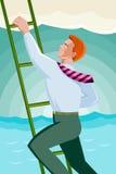 Zakenmanambtenaar Worker Climbing Ladder vector illustratie