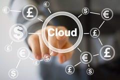 Zakenmandrukknop met eur van de wolkendollar muntweb Stock Fotografie