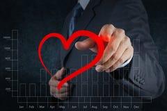 Zakenmanhand die een hart trekken als liefdeconcept royalty-vrije stock afbeelding