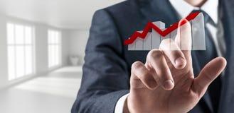 Zakenmanhand wat betreft virtueel grafisch pictogram het 3d teruggeven Stock Fotografie