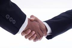 Zakenmanhanddruk voor overeenkomst met vennootschap om t goed te keuren stock afbeelding