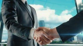 Zakenmanhandenschudden op belangrijke vergadering in de versie van Dallas de V.S. tweede stock video