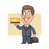 Zakenmanholding betaalpas en het glimlachen vector illustratie