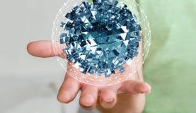 Zakenmanholding die abstract gebied met glanzende kubus 3D vliegen aangaande Royalty-vrije Stock Afbeelding