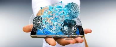 Zakenmanholding die abstract gebied over mobiele 3D telefoon vliegen Stock Afbeeldingen