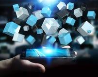 Zakenmanholding die blauwe glanzende 3D renderin van het kubusnetwerk drijven Royalty-vrije Stock Afbeelding