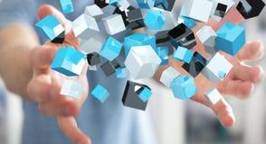 Zakenmanholding die blauwe glanzende 3D renderin van het kubusnetwerk drijven Stock Afbeeldingen