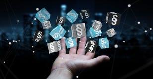 Zakenmanholding en wat betreft 3D het teruggeven wetskubussen Stock Afbeeldingen