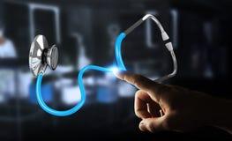 Zakenmanholding en wat betreft het drijven stethoscoop 3D renderi Stock Foto's
