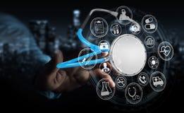 Zakenmanholding en wat betreft het drijven stethoscoop 3D renderi Royalty-vrije Stock Fotografie