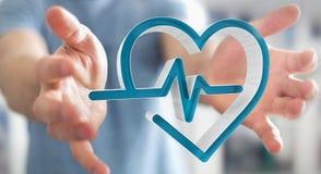 Zakenmanholding en wat betreft het medische pictogram 3D teruggeven Stock Afbeeldingen