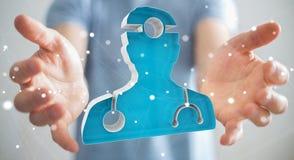 Zakenmanholding en wat betreft het medische pictogram 3D teruggeven Royalty-vrije Stock Foto