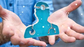 Zakenmanholding en wat betreft het medische pictogram 3D teruggeven Royalty-vrije Stock Afbeelding