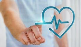 Zakenmanholding en wat betreft het medische pictogram 3D teruggeven Stock Fotografie